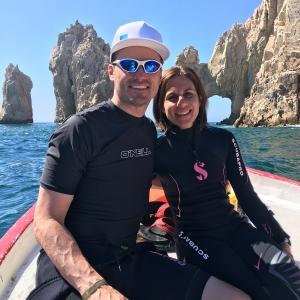 Brady and wife enjoying the water