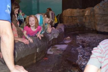 Kids enjoying the fish pond